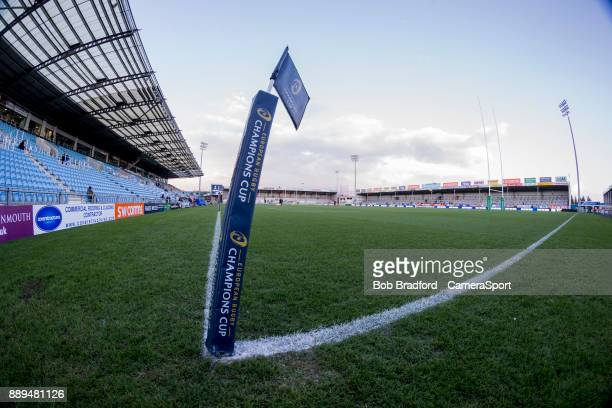 A general view of Sandy Park home of Exeter Chiefs during the European Rugby Champions Cup match between Exeter Chiefs and Leinster Rugby at Sandy...