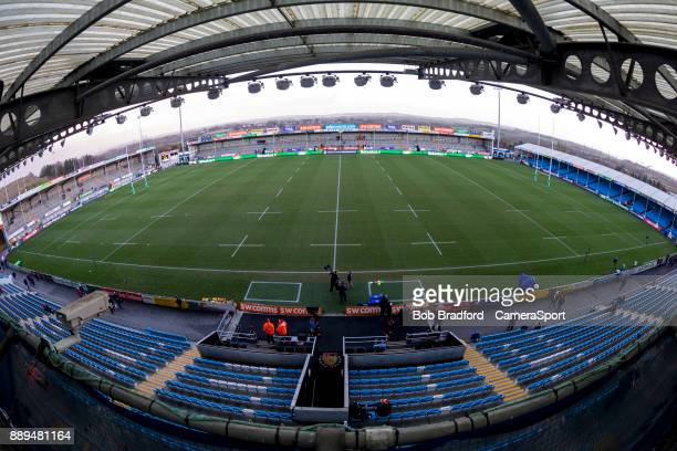 A general view of Sandy Park home of the Exeter Chiefs during the European Rugby Champions Cup match between Exeter Chiefs and Leinster Rugby at...