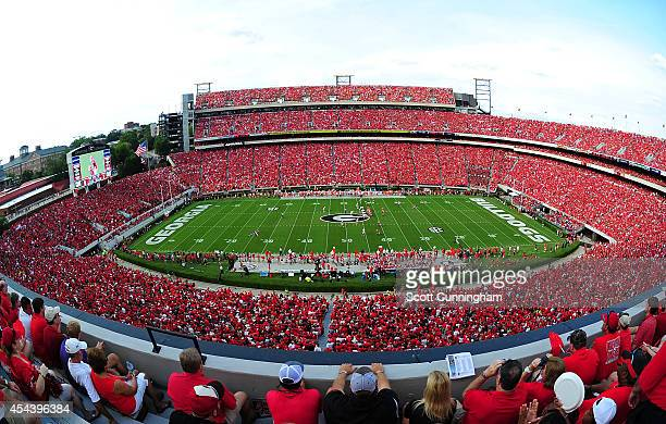 A general view of Sanford Stadium during the game between the Georgia Bulldogs and the Clemson Tigers on August 30 2014 in Athens Georgia