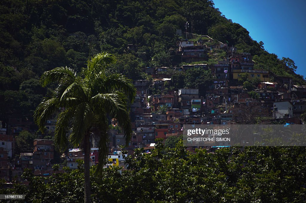 General view of Santa Marta slum in Rio de Janeiro on December 05, 2012, Brazil.