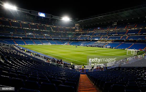 A general view of Santiago Bernabeu stadium before the UEFA Champions League Group C match between Real Madrid and FC Zurich on November 25 2009 in...