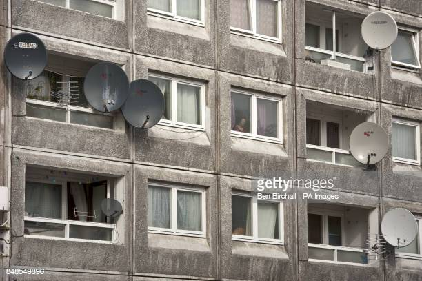 A general view of satellite dishes on a London tower block