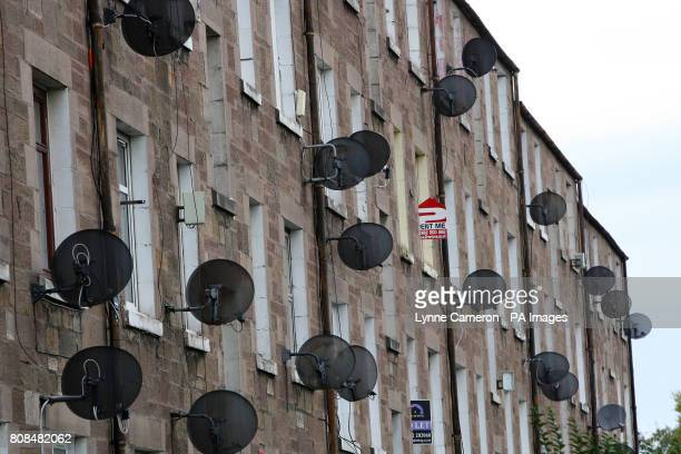 General view of satellite dishes outside residential housing by Dens Park home of Dundee Football Club
