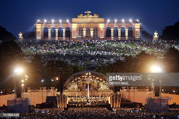 A general view of Schoenbrunn Palace is seen as some 150 000 people watch the Vienna Philharmonic Orchestra perform during an open air 'Summer Night'...