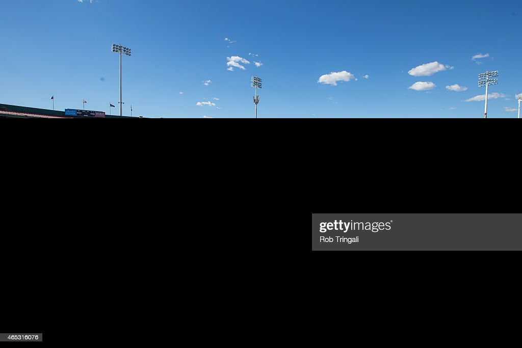 A general view of Scottsdale Stadium during a spring training game between the San Francisco Giants and the Oakland Athletics at Scottsdale Stadium...