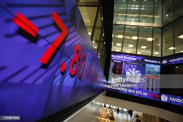 General view of screens showing stock price falls at The London Stock Exchange on August 5 2011 in London England The Eurozone debt crisis has caused...