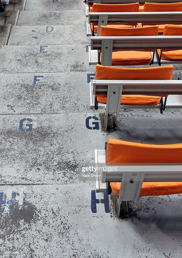 A general view of seats and worn row letters are seen in the stands at the Carrier Dome prior to the game between the Syracuse Orange and the Providence Friars on February 20, 2013 in Syracuse, New York.