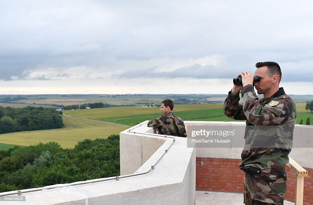 A general view of security as Catherine, Duchess of Cambridge, Prince William, Duke of Cambridge and Prince Harry attend the Somme Centenary commemorations at the Thiepval Memorial on June 30, 2016 in Thiepval, France.