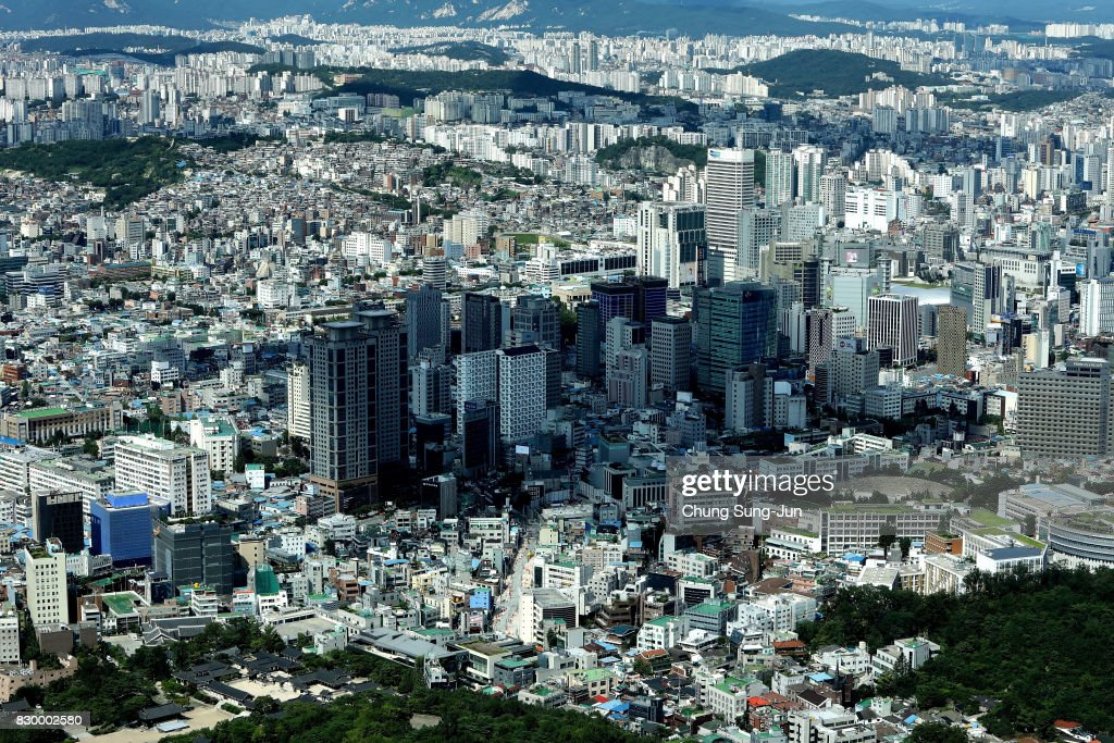 A general view of Seoul city from N Seoul Tower on August 11, 2017 in Seoul, South Korea. North Korea have announced they are preparing to launch missiles toward U.S. Pacific territory of Guam.