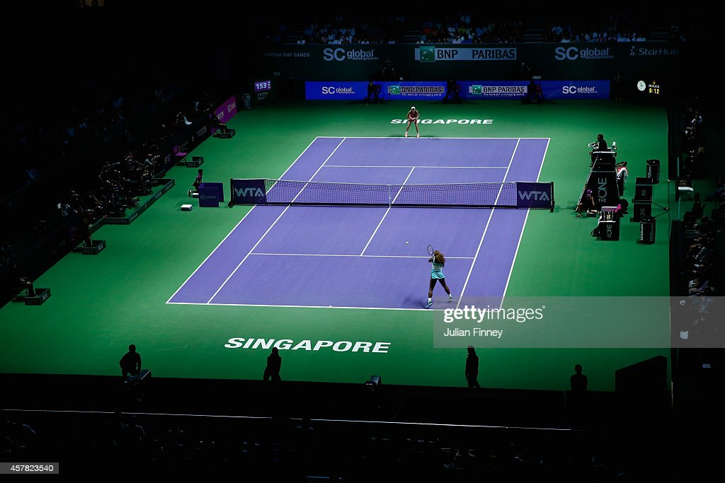 A general view of Serena Williams of USA in action against Caroline Wozniacki of Denmark in the semi finals during day six of the BNP Paribas WTA...