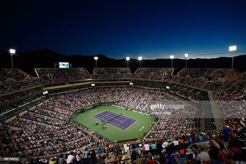 A general view of Serena Williams of USA in action against Monica Niculescu of Romania during day five of the BNP Paribas Open tennis at the Indian...
