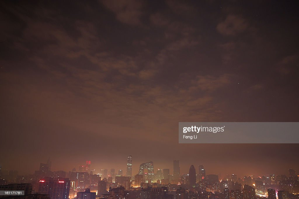 A general view of severe air pollution after fireworks illuminating the skyline to celebrate Chinese Lunar New Year of Snake on February 9, 2013 in Beijing, China. The Chinese Lunar New Year of Snake also known as the Spring Festival, which is based on the Lunisolar Chinese calendar, is celebrated from the first day of the first month of the lunar year and ends with Lantern Festival on the Fifteenth day.