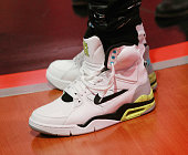 A general view of Shad Moss's shoes during 106 Park at BET studio on October 27 2014 in New York City