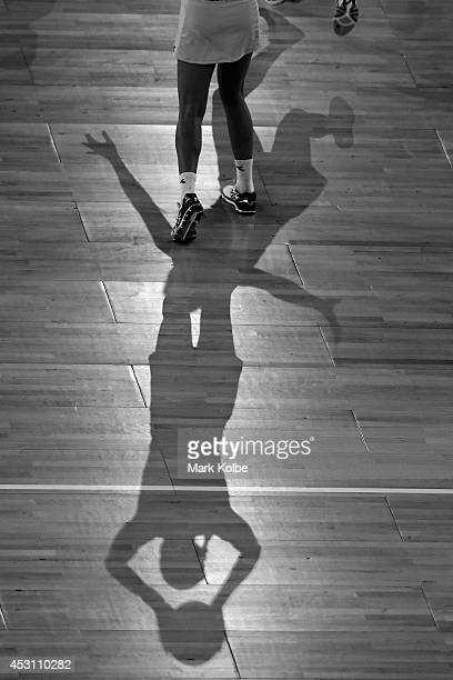 A general view of shadows on the court is seen during the gold medal netball match between Australia and New Zealand at the SECC Precinct during day...