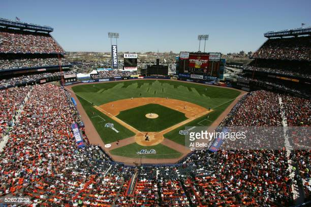 General view of Shea Stadium during the game between the New York Mets and the Houston Astros on April 11 2005 at in Flushing New York The Mets won...