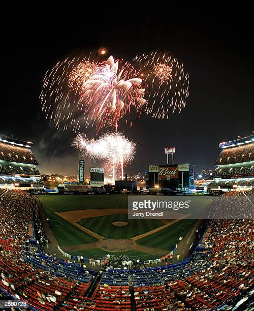 General view of Shea Stadium from behind home plate upper deck during fireworks night after the National League game between the Montreal Expos and...