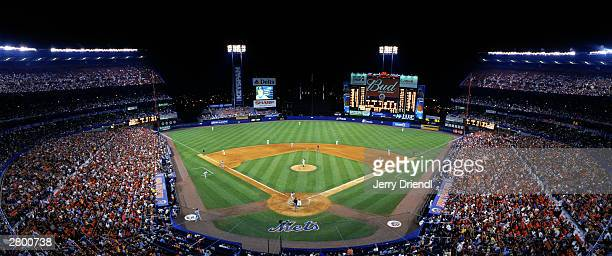 General view of Shea Stadium from behind home plate upper deck during the National League game between the Montreal Expos and the New York Mets at...