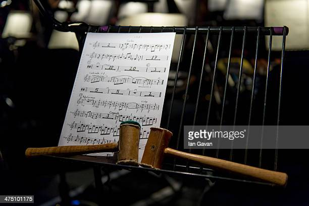 General view of sheet music in the orchestra pit ahead of a dress rehearsal for Puccini's 'La Boheme' at Royal Albert Hall on February 26 2014 in...