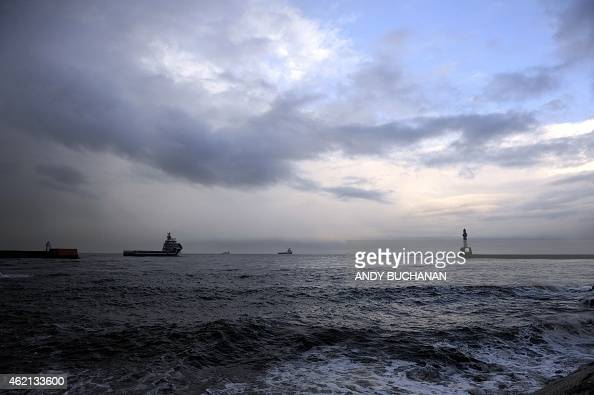 General view of ships on the North Sea seen from Aberdeen Harbour the busiest port for the oil industry in the UK in Aberdeen Scotland on January 21...