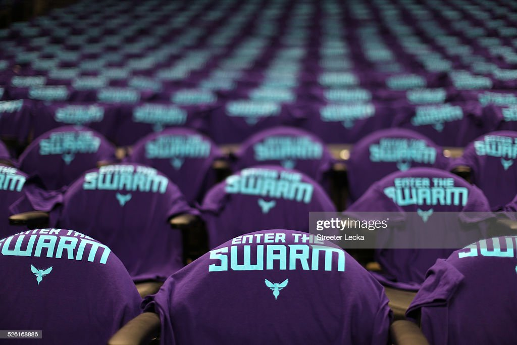 A general view of shirts on seats prior to the game between the Miami Heat and Charlotte Hornets in game six of the Eastern Conference Quarterfinals of the 2016 NBA Playoffs at Time Warner Cable Arena on April 29, 2016 in Charlotte, North Carolina.
