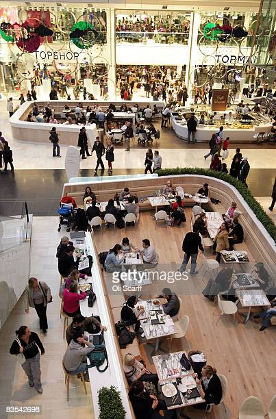 A general view of shoppers taking a break at restaurant areas at the newly opened Westfield shopping centre on November 3 2008 in the west London...