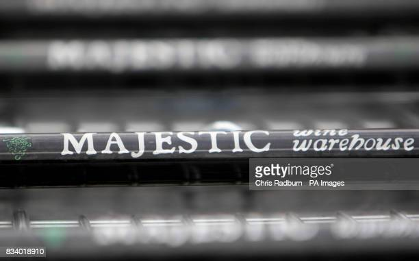 General view of shopping trolleys at a Majestic Wine Warehouse in Cambridge Wine warehouse chain Majestic said today that sales have declined despite...