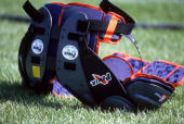 A general view of shoulder pads taken during the Chicago Bears Mini Camp on July 21 1998 in Lake Forest Illinois