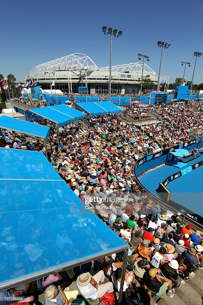 A general view of Show Court 2 with Rod Laver Arena in the background during day four of the 2012 Australian Open at Melbourne Park on January 19...