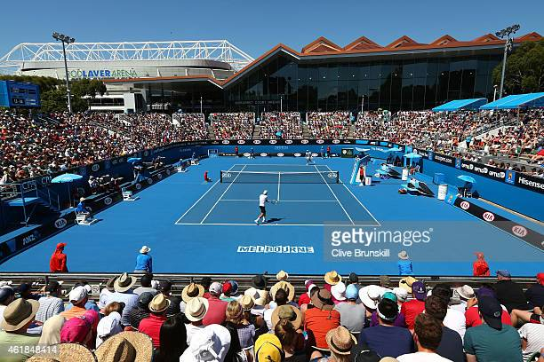 A general view of Show Court 3 at Melbourne Park during day three of the 2015 Australian Open at Melbourne Park on January 21 2015 in Melbourne...