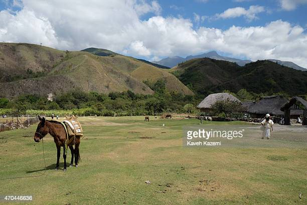 A general view of Sierra Nevada landscape seen from outside white sits outside the village on January 24 2015 in Nabusimake Colombia Nabusimake is...