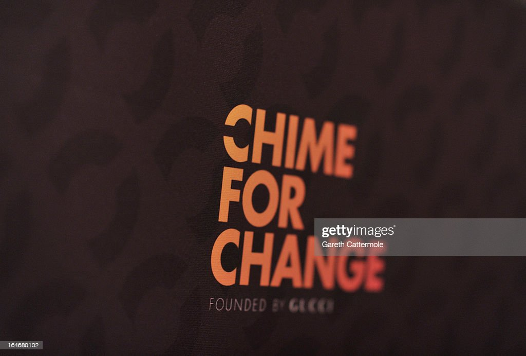 A general view of signage at a press conference to announce 'The Sound Of Change Live', a global concert event, at the Soho Hotel on March 26, 2013 in London, United Kingdom. Chime For Change, a global campaign for girls' and women's empowerment founded by Gucci and with a founding committee comprised of Gucci Creative Director Frida Giannini, Salma Hayek Pinault and Beyonce Knowles-Carter, today announced a concert event at London's Twickenham Stadium on June 1 with Co-founder and Artistic Director, Beyonce as headliner. Also set to perform are Ellie Goulding, Florence and the Machine, HAIM, Iggy Azalea, John Legend, Laura Pausini, Rita Ora, Timbaland and more to be announced.