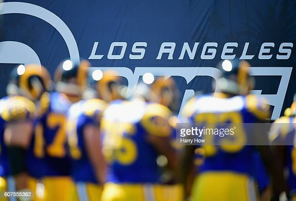 A general view of signage before the start of the Los Angeles Rams home opening NFL game against the Seattle Seahawks at Los Angeles Coliseum on...