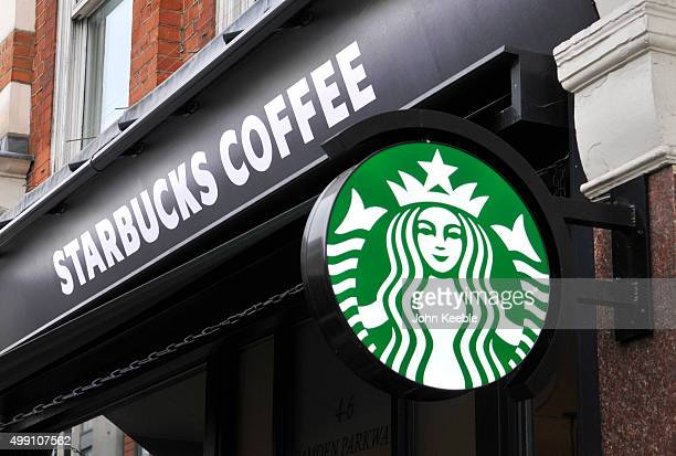 A general view of signage of a Starbucks Coffee shop in Camden Town on November 28 2015 in London England