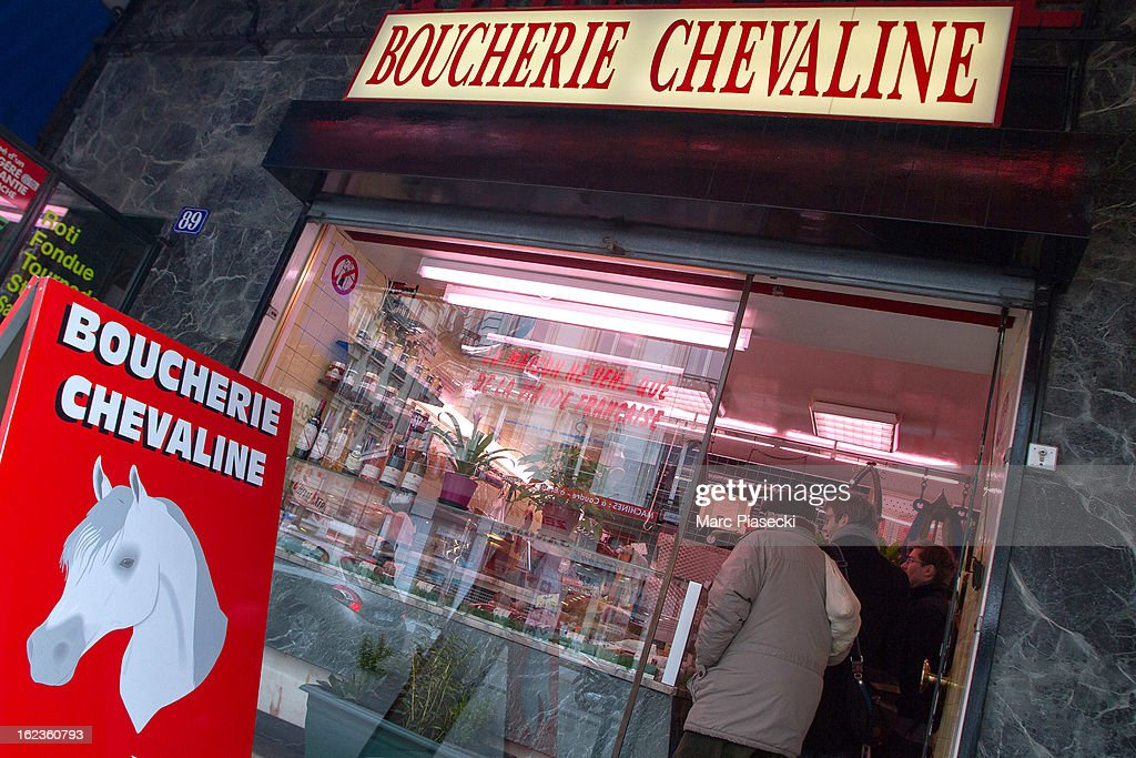 A general view of signage outside a 'boucherie chevaline' which is continuing to sell horsemeat despite the continued scandal across Europe involving...