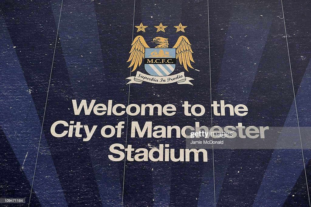 General View of signage outside The City of Manchester Stadium home of Manchester City FC on February 27 2011 in Manchester England