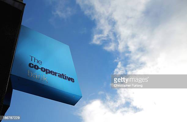 A general view of signagge outside the Crewe branch of the Cooperative Bank on November 4 2013 in Crewe United Kingdom The Cooperative Bank has...