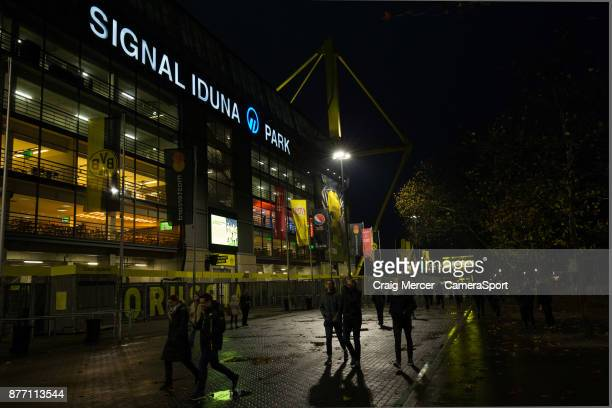 A general view of Signal Iduna Park home of Borussia Dortmund during the UEFA Champions League group H match between Borussia Dortmund and Tottenham...