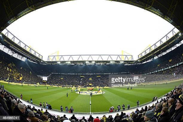 A general view of Signal Iduna Park prior to the Bundesliga match between Borussia Dortmund and FC Augsburg at Signal Iduna Park on January 25 2014...