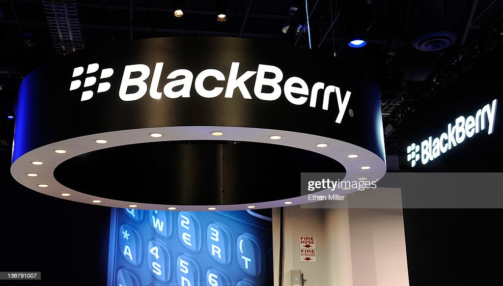 A general view of signs at the Blackberry booth at the 2012 International Consumer Electronics Show at the Las Vegas Convention Center January 11, 2012 in Las Vegas, Nevada. CES, the world's largest annual consumer technology trade show, runs through January 13 and features more than 3,100 exhibitors showing off their latest products and services to about 140,000 attendees.