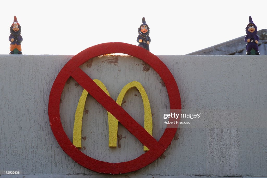 A general view of signs on display on July 3, 2013 in Melbourne, Australia. Janine Watson is spending her third consecutive day on the rooftop of a building currently under proposal to be demolished, making way for a new 24 hour McDonald's restaurant, today also marks her 50th Birthday.