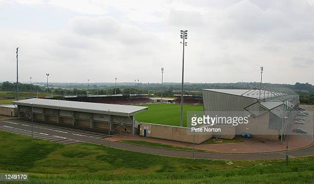 General view of Sixfield Stadium home of Northampton Town FC in Northampton England on July 20 2002