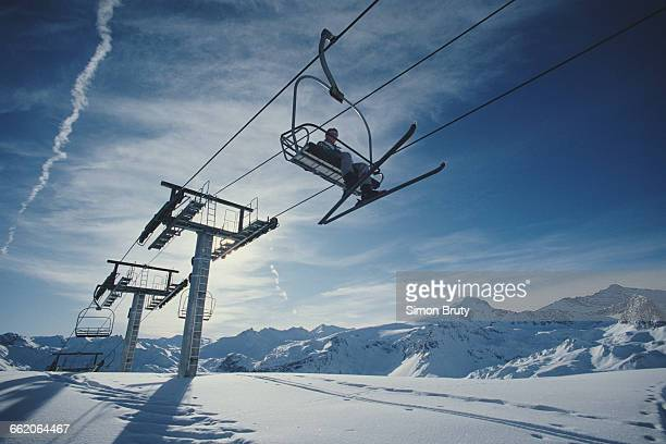 General view of ski chair lifts during the Freestyle Skiing World Cup event on 12 December 1987 in TignesRhoneAlpes France