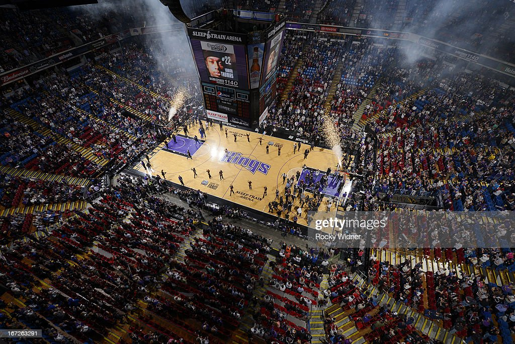 A general view of Sleep Train Arena during player introductions of the game between the Los Angeles Clippers and the Sacramento Kings on April 17, 2013 at Sleep Train Arena in Sacramento, California.