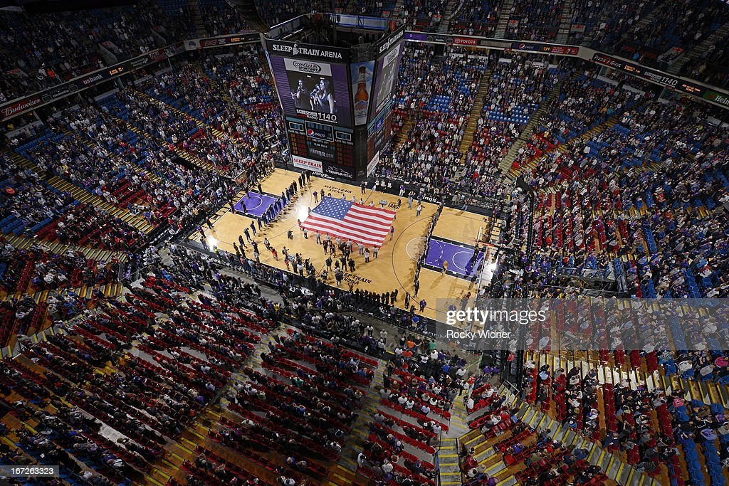 A general view of Sleep Train Arena during the national anthem of the game between the Los Angeles Clippers and the Sacramento Kings on April 17, 2013 at Sleep Train Arena in Sacramento, California.