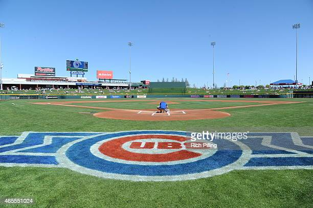 A general view of Sloan Field prior to the game between the Chicago Cubs and Cincinnati Reds on March 6 2015 at Sloan Park in Mesa Arizona The Reds...