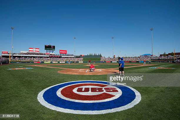 A general view of Sloan Park during the game between the Los Angeles Angels of Anaheim and Chicago Cubs on March 4 2016 at Sloan Park in Mesa Arizona