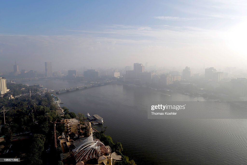 General view of smog over the River Nile and cityscape, viewed from the Sofitel hotel on November 13, 2012 in Cairo, Egypt.