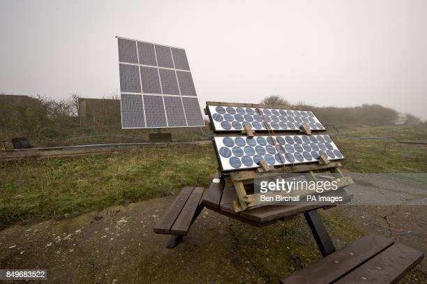 A general view of solar panels on Flat Holm island in the Bristol Channel Flat Holm is a limestone island in the Bristol Channel approximately 6 km...