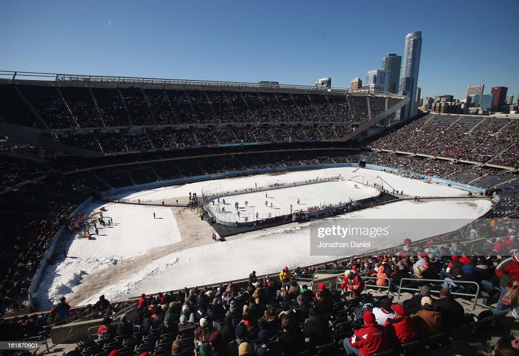 A general view of Soldier Field during the Hockey City Classic on February 17, 2013 in Chicago, Illinois.