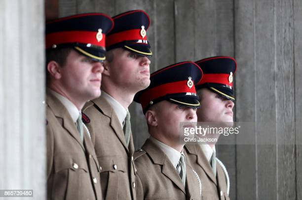 A general view of soldiers ahead of an official visit by Queen Elizabeth II and Prince Charles Prince of Wales to the Household Cavalry Mounted...